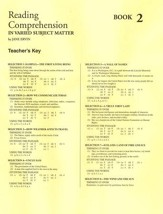 Reading Comprehension in Varied Subject Matter, Answer Key Book 2, Grade 4