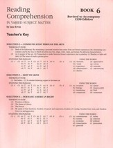 Reading Comprehension (in Varied Subject Matter) Book 6, Grade 8 Answer Key