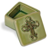 Green Ceramic Box With Crackle Finish