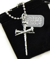 Nail Cross Pendant with Dog Tag