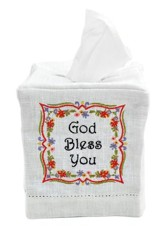 God Bless You Fabric Tissue Box Cover, Cube Style
