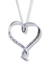 You Will Seek Me and Find Me--Sterling Silver Heart Pendant