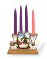 Joy Nativity Advent Candle Holder