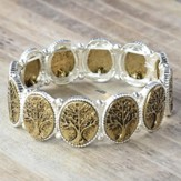 Tree of Life Stretch Bracelet, Silver & Brass