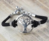 Tree of Life Bracelet, Silver and Black