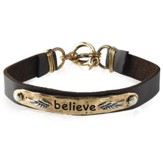 Believe Leather Bracelet, Gold