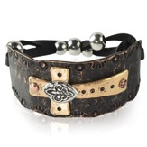 Cross & Medallion Bracelet, Black
