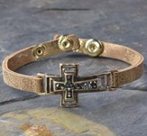 Sideways Cross Bracelet, Leather-Like