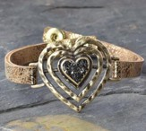 Heart Bracelet, Leather-Like