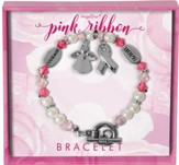 Pink Ribbon, Angel and Ribbon, Charm Bracelet