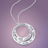 Soar On Wings Like Eagles, Sterling Silver, Double Mobius Necklace, Isaiah 40:31