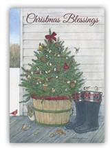 Christmas Blessings, Tree With Boots Christmas Cards, Box of 20