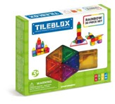 Magformers Rainbow Tiles, 30 Piece Set with Magnetic Activity Board
