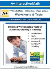 Math Worksheets & Tests with Automatic Grading N Tracking Grade 1 (1 Year Access)