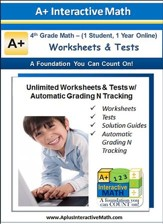 Math Worksheets & Tests with Automatic Grading N Tracking Grade 4 (1 Year Access)