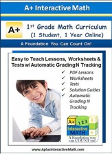 Math Curriculum Lesson eBooks,  Worksheets & Tests with Automatic Grading N Tracking Grade 1 (1 Year Access)