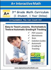 Math Curriculum Lesson eBooks,  Worksheets & Tests with Automatic Grading N Tracking Grade 3 (1 Year Access)