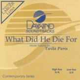 What Did He Die For, Accompaniment CD