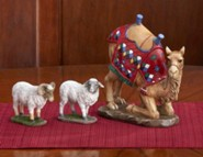 Kneeling Camel and Awassi Sheep, 7 Nativity, Set of 3