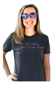 It Is Well With My Soul, Short Sleeve Shirt, Gray, Large