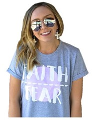 Faith Over Fear, Short Sleeve Shirt, Gray, Medium