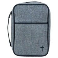 Cross Bible Cover, Large Gray
