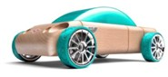 S9 Beech Wood Sedan Kit with Teal Tires