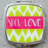 Show Love Chevron Compact Mirror, Pink & Lime