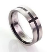 Men's Stainless Steel Ring with Black Cross, Size 12