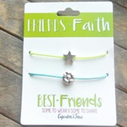 Friends in Faith Necklaces with Silver Star and Flower, 2 Pack