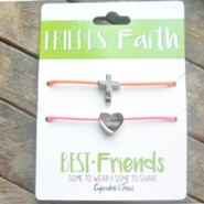 Friends in Faith Necklaces with Silver Cross and Heart, 2 Pack