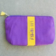 Walk Humbly Zipper Bag with Tassel, Purple
