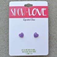 Show Love Heart Earrings, Purple