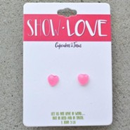 Show Love Heart Earrings, Pink