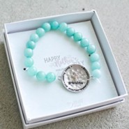 Turquoise Beaded Bracelet with Silver Grandma Charm