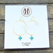 Turquoise Stone Cross Hoop Earrings