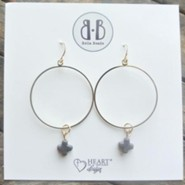 Charcoal Stone Cross Hoop Earrings