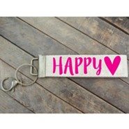 Happy Heart Canvas Keyring, Pink