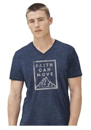 Faith Can Move Shirt, Blue. Medium