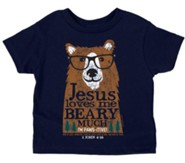 Jesus Loves Me Beary Much Shirt, Navy, 3T