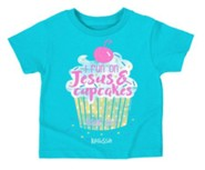 I Run On Jesus and Cupcakes Shirt, Teal,  3T