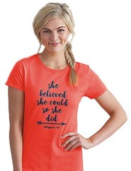She Believed She Could So She Did Shirt, Coral, Small