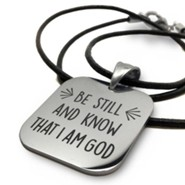 Be Still & Know, Stainless Steel Necklace On Leather