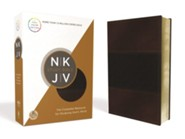NKJV Study Bible--soft leather-look, navy/auburn