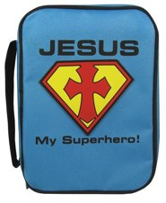 Jesus My Superhero Bible Cover, Blue, Medium
