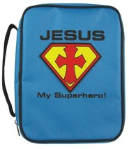 Jesus My Superhero Bible Cover, Blue, Large