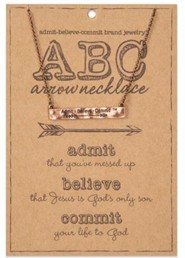 ABC, Admit, Believe, Commit, Arrow Necklace, Copper