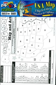 USA Map FunSheet Pack of 30