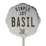 Pewter Plant Marker - Basil/Simple Joy