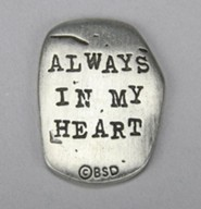 Pewter Pocket Token, Cross, Always in my Heart